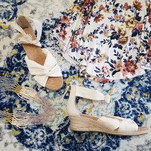 UGG Starla Fabric & Jute Wedge Sandal Cream 9